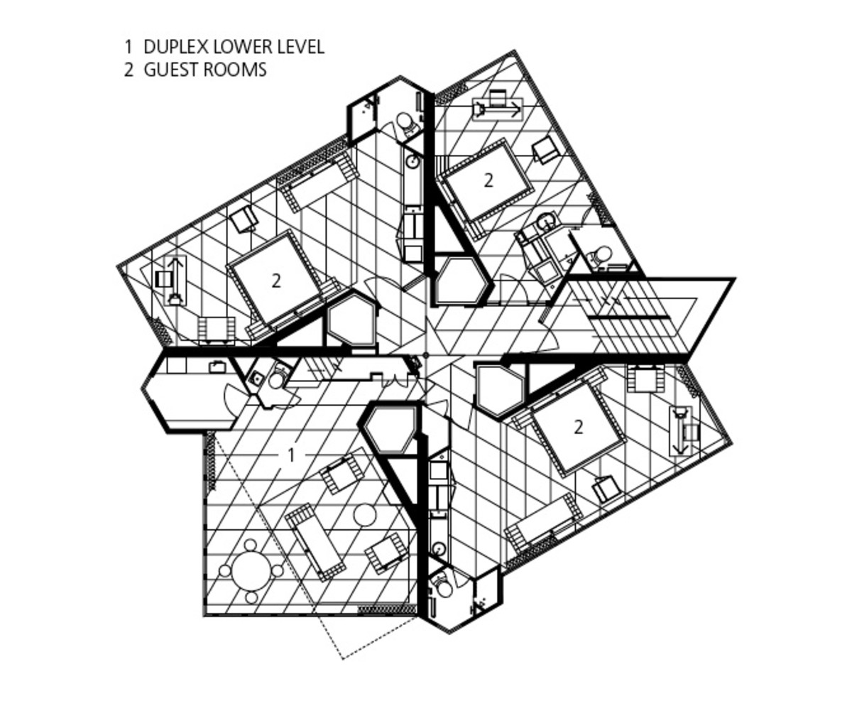 Price Tower: The layout of a typical guest room floor. Notice the Cross-shaped concrete walls run up the building like a tree trunk.