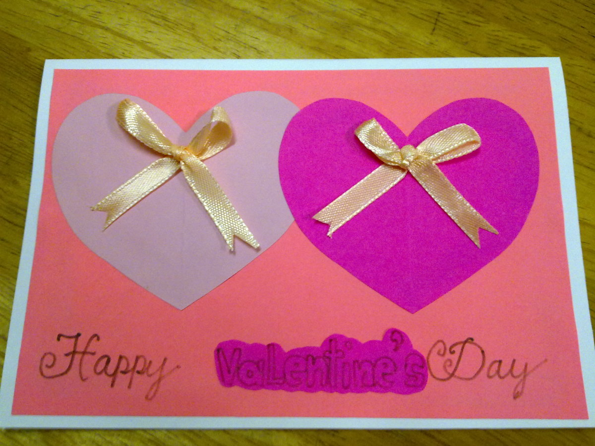 a Valentine's Day card with a couple of hearts