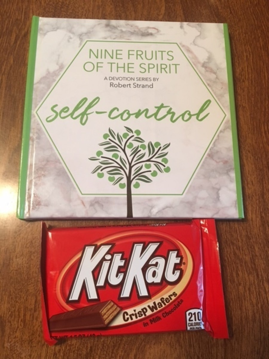 Self-control devotional next to a candy bar. Oh, the irony!