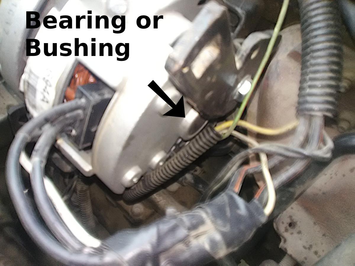 Check alternator bearings and bushings for wear.