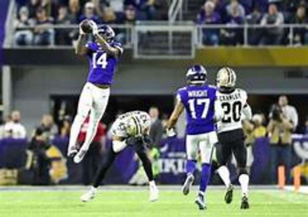 In one of the craziest endings to a playoff game Case Keenum launched a ball to Stefon Diggs who evaded safety Marcus Williams mid air then ran into the end zone for the win.