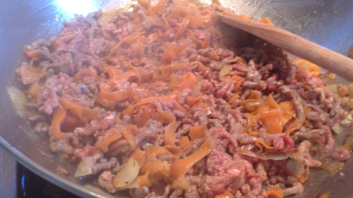 adding the minced beef