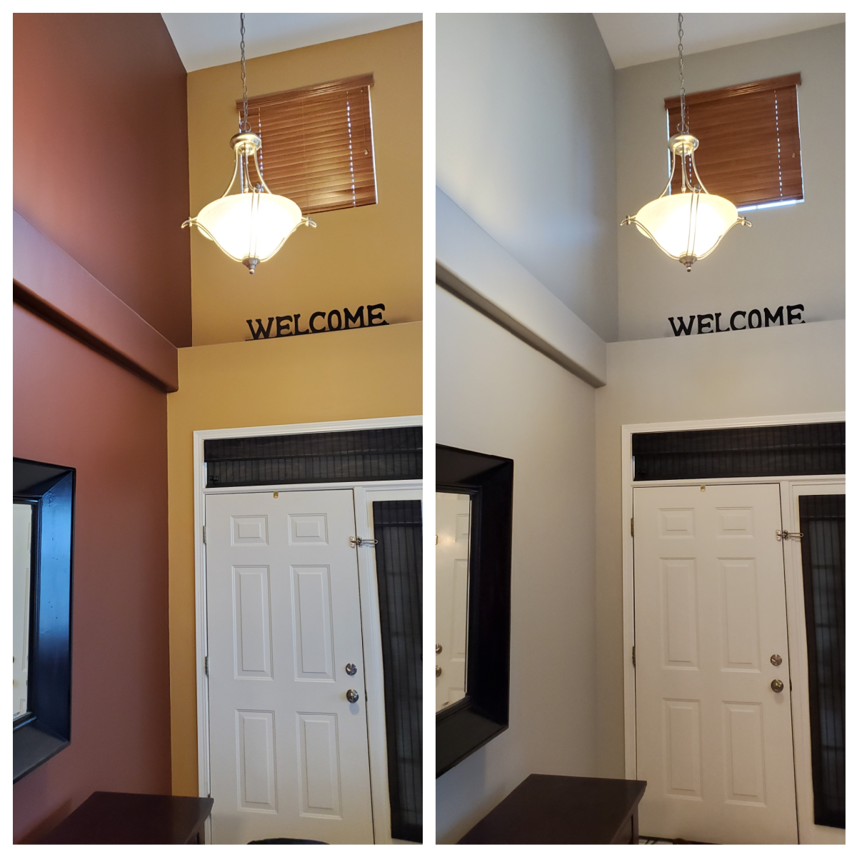 Foyer walls I painted with the color Repose Gray from Sherwin Williams.