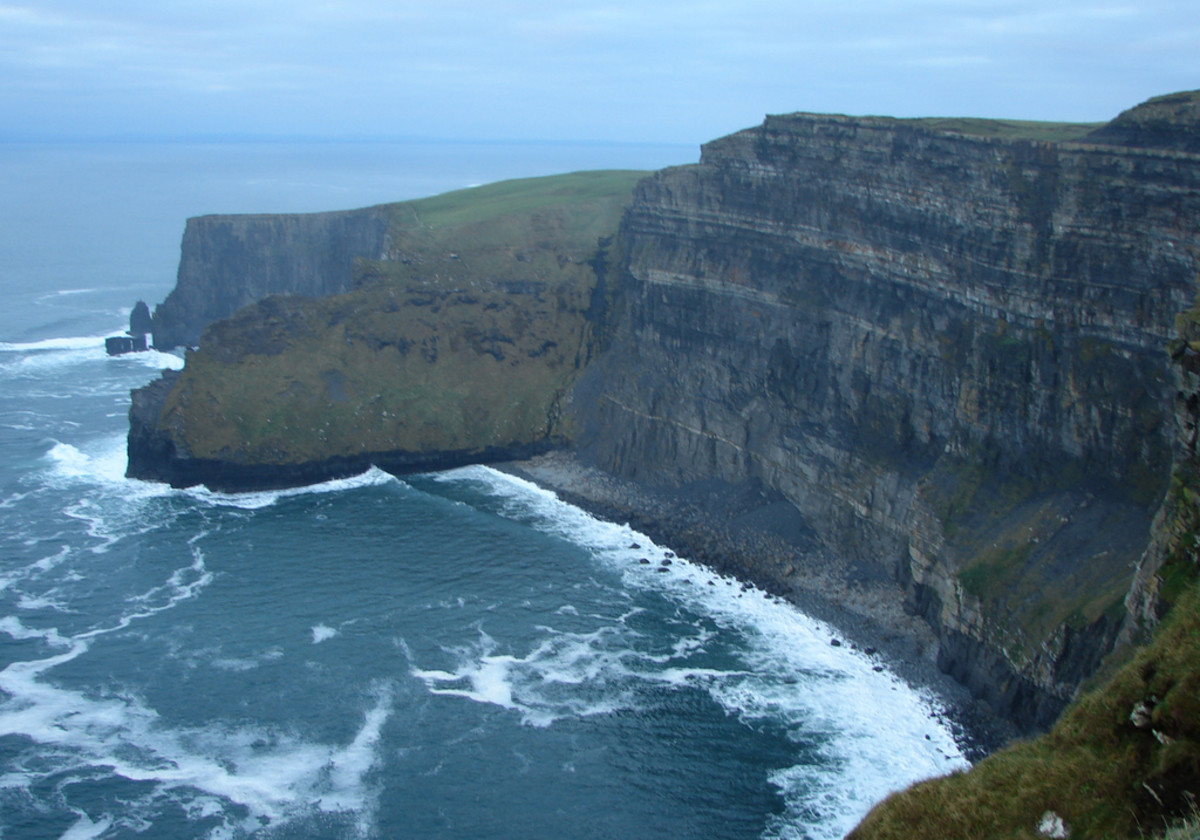 There are few guardrails on the cliffs, so visitors should take care as the cliffs reach heights of 702 feet.