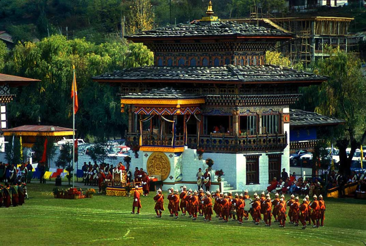 Bhutanese archers at a competition