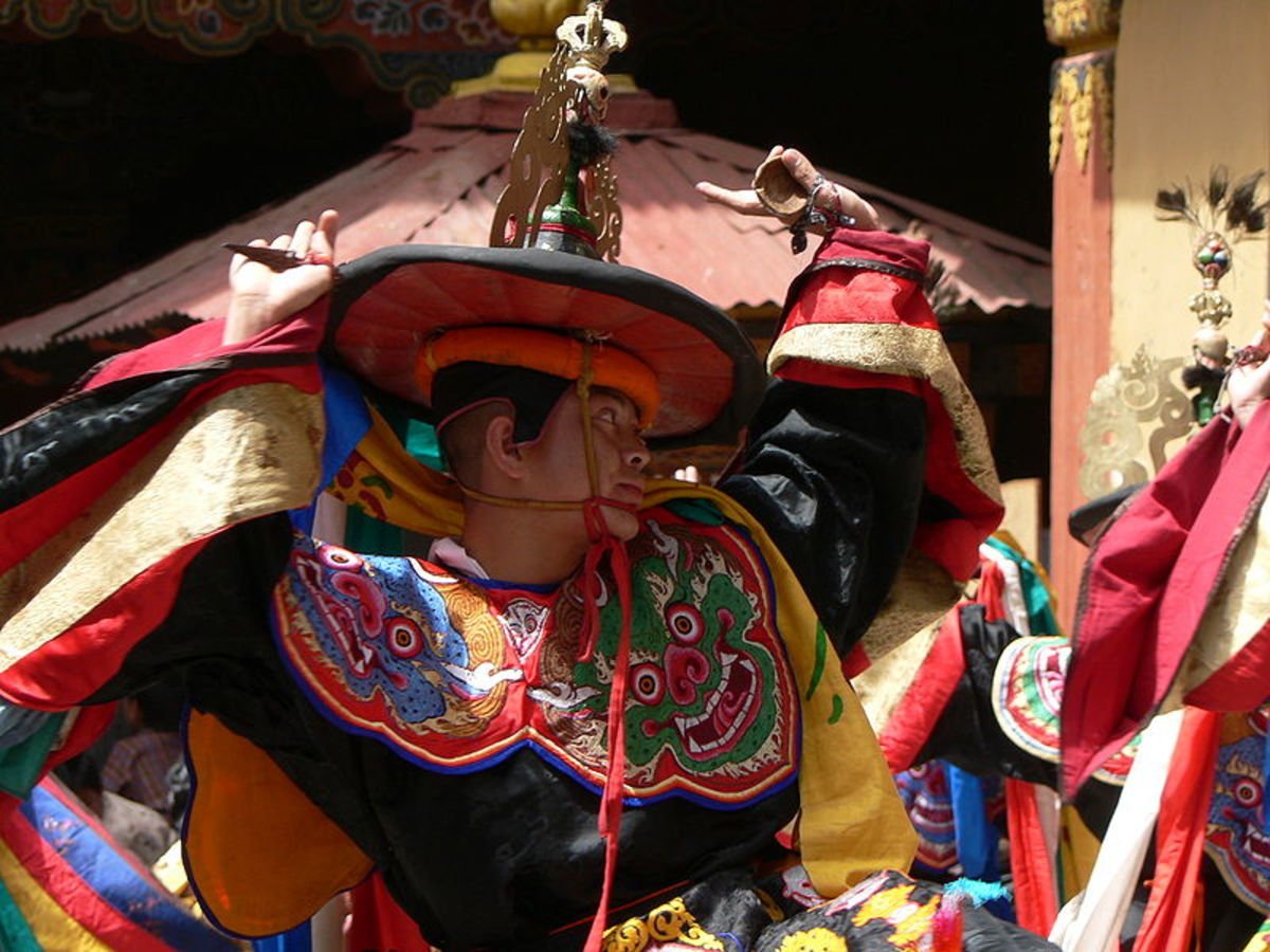 """Dance of the Black Hats"" at Paro Tsechu"