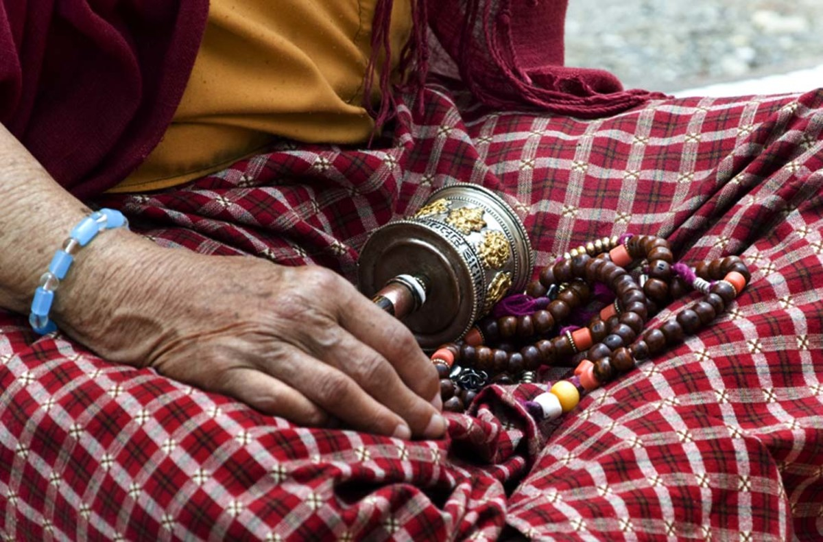 The weekend market in Thimphu is the perfect place to pick up unique Bhutanese art, including prayer wheels.
