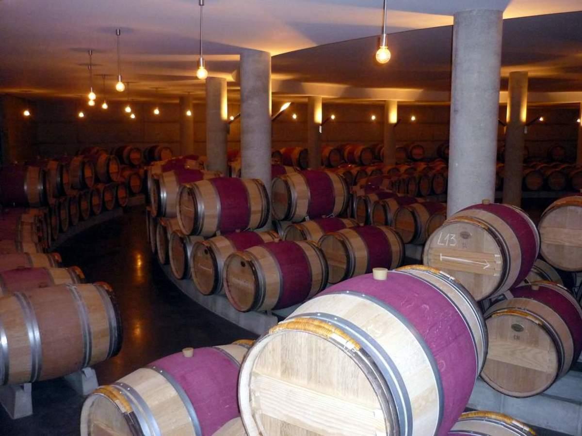 Wine barrels at Chais du Château l'Evangile