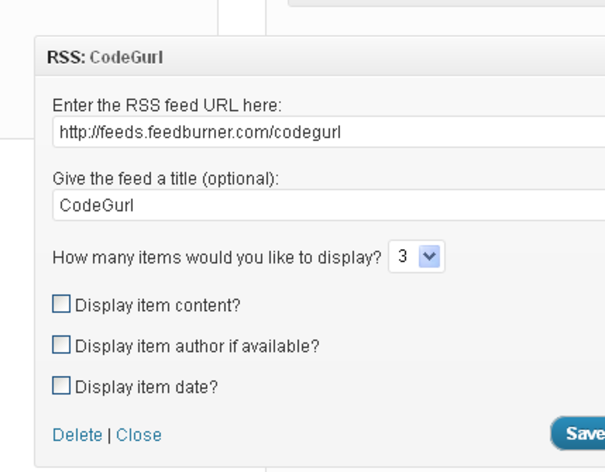 Here are the configuration options for your RSS feed.