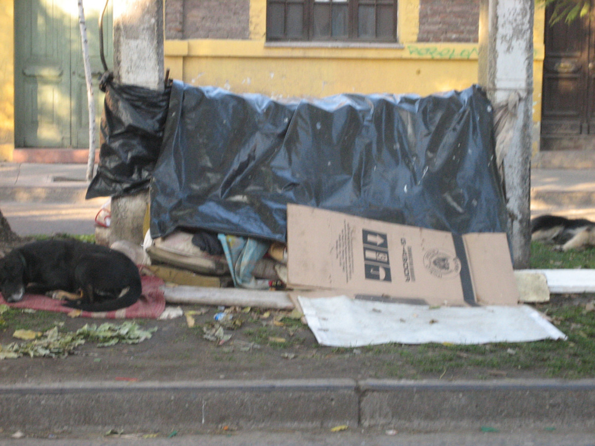 A makeshift shelter on the median of a busy street
