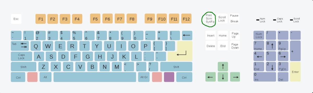 Press Print Scr on the upper right-hand side of your keyboard (circled in green.)