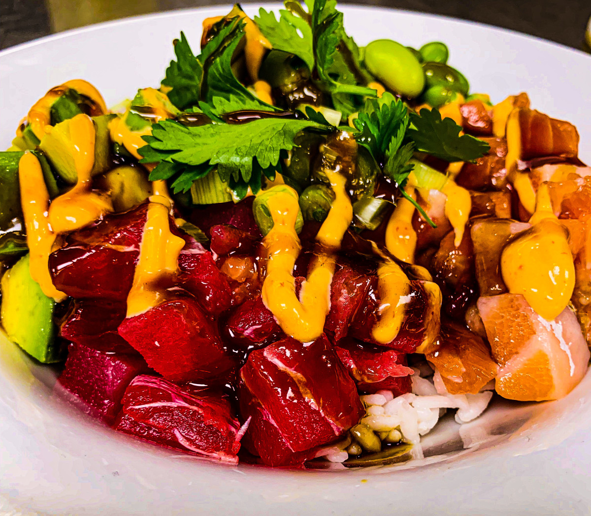 Ahi tuna poke bowl with soy mango sauce