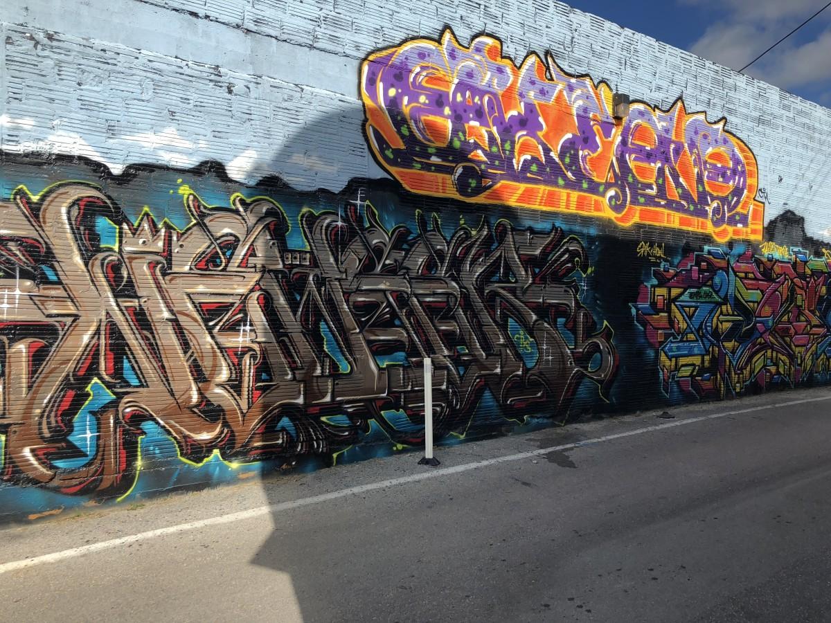 Graffiti art style wall mural.