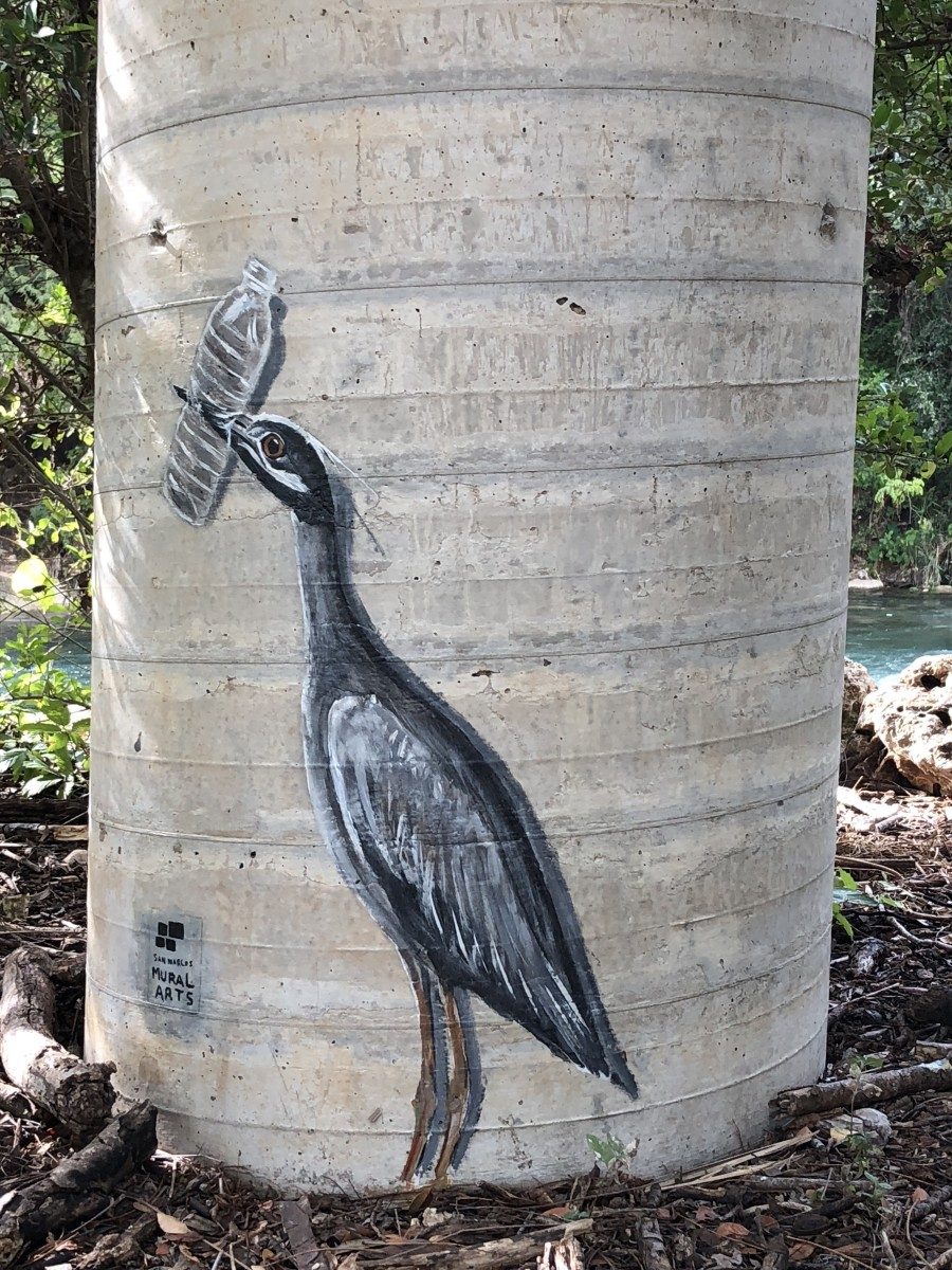 A mini mural by the San Marcos River