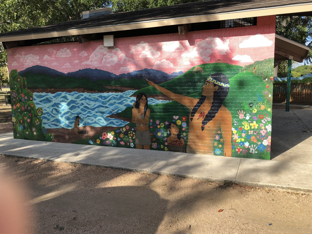 Frame 1 - A captivating mural depicting the Native American presence in the time before the founding of the City of San Marcos at the Sacred Springs, which is the head waters for the San Marcos River.