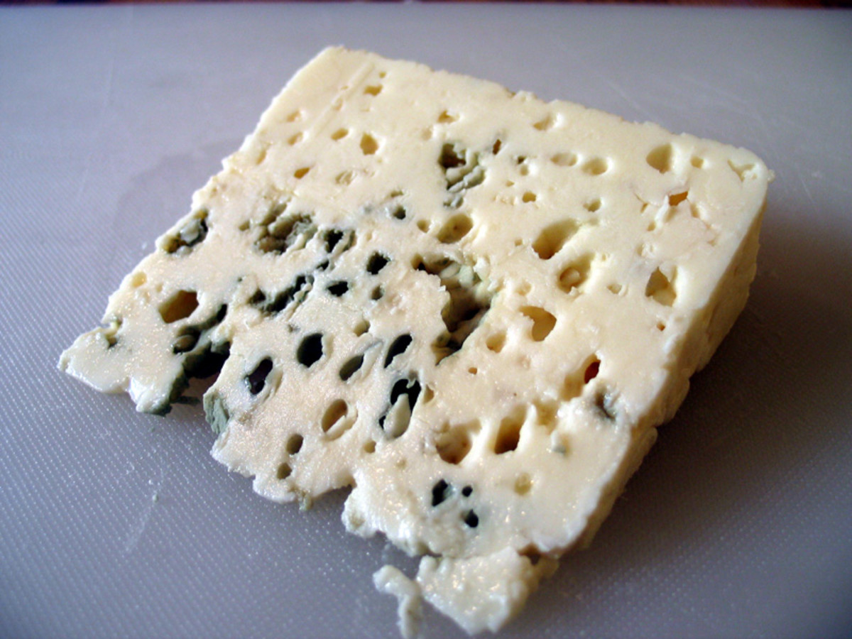 Roquefort is a blue cheese made in the south of France from sheep's milk.
