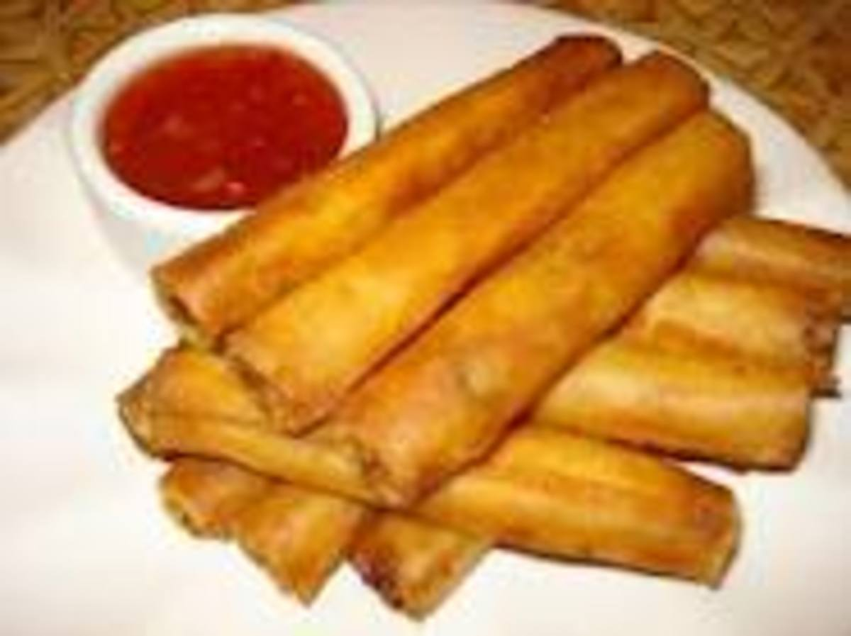 Lumpia with a side of Sweet Thai Chili Sauce