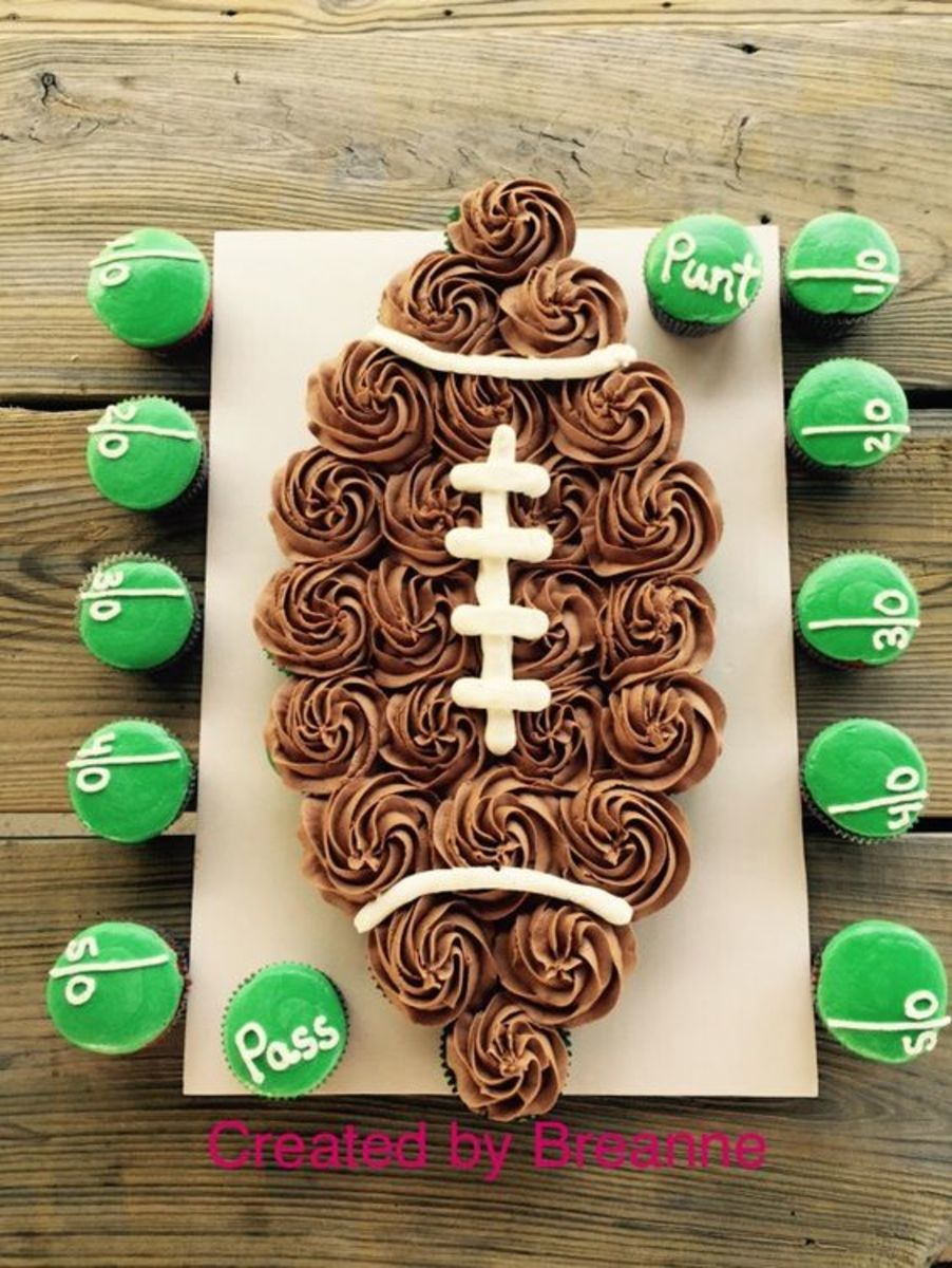 big football made out of cupcakes