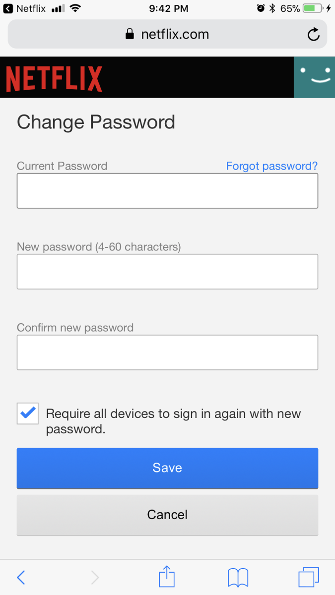 """Enter your current Netflix password in the Change Password field. Enter your new password in both the New Password and Confirm New Password fields. Click to place a check mark to the left of """"Require all devices to sign in again with the password."""