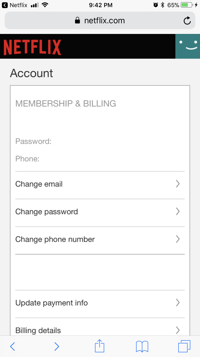 """Choose """"Change Password"""" in the Membership & Billing section. The Change Password screen appears."""