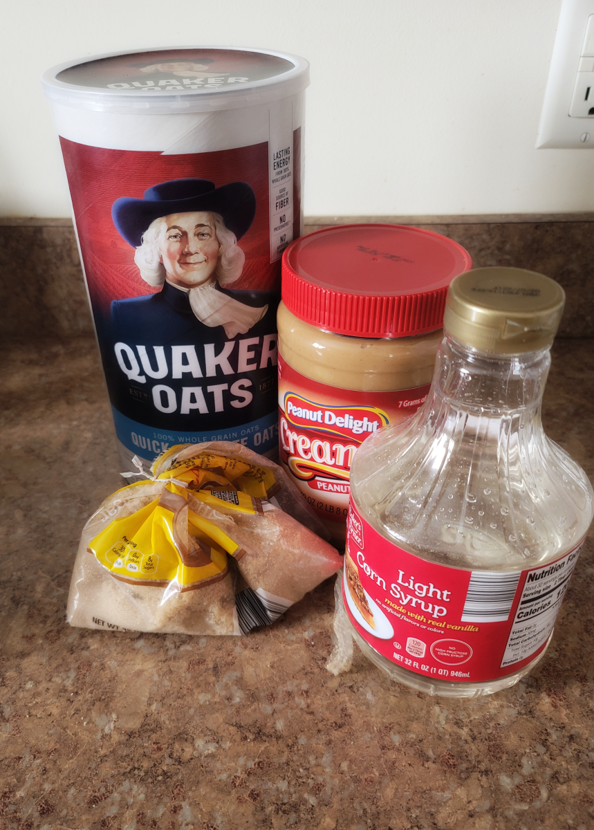 Ingredients for peanut butter squares