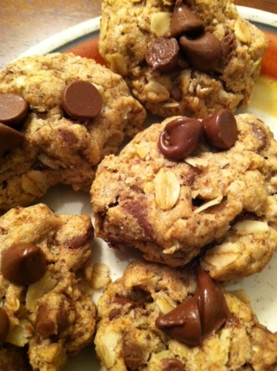 A batch of oatmeal chocolate chip cookies with flax seed.