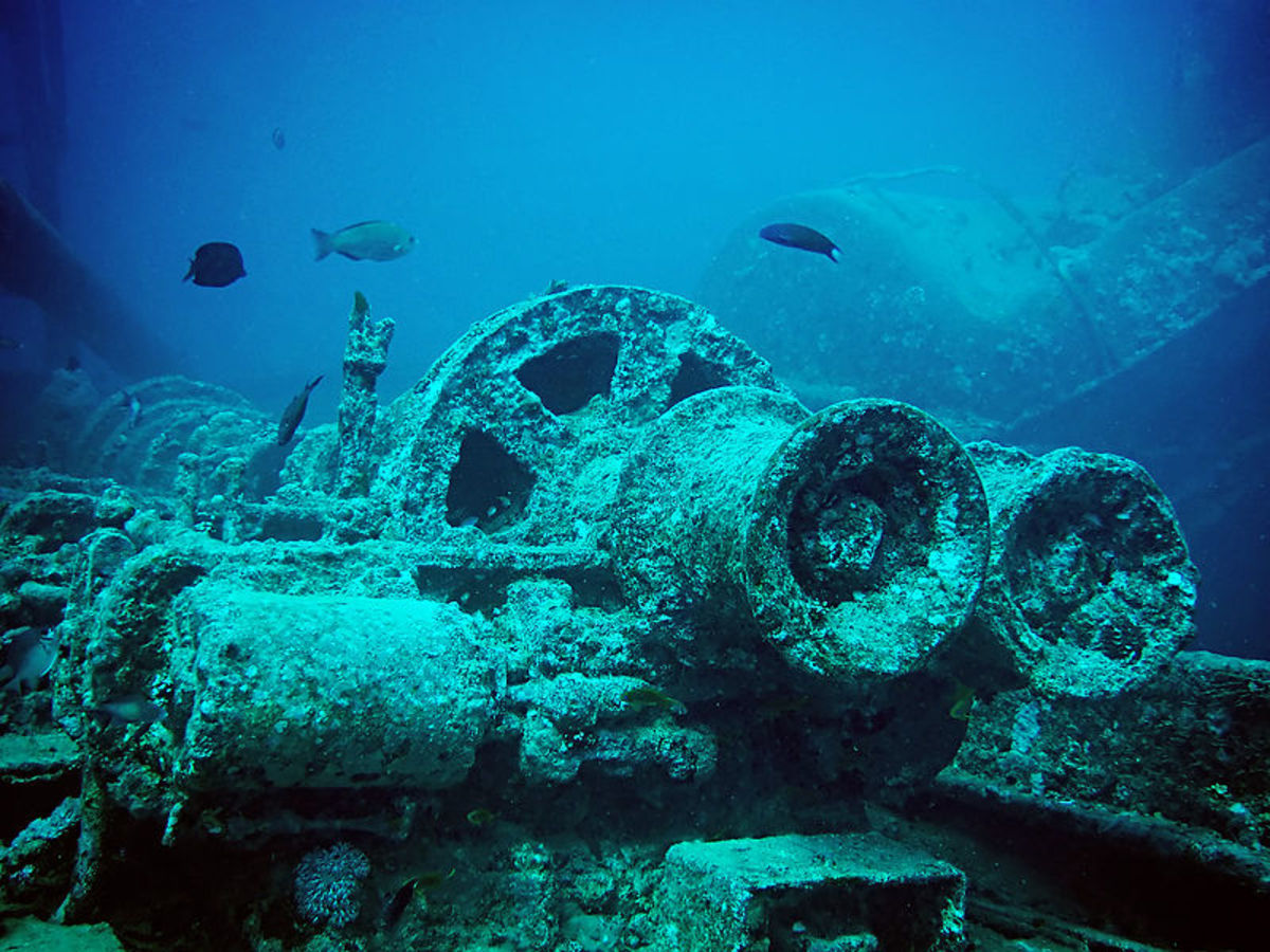 A Winch and associated parts sitting on the deck of the SS Thistlegorm. The Thistlegorm, a transport ship, was sunk by a German bomber, during the Second World War, on 5 October 1941 near Ras Muhammad in the Red Sea. The wreck was originally located