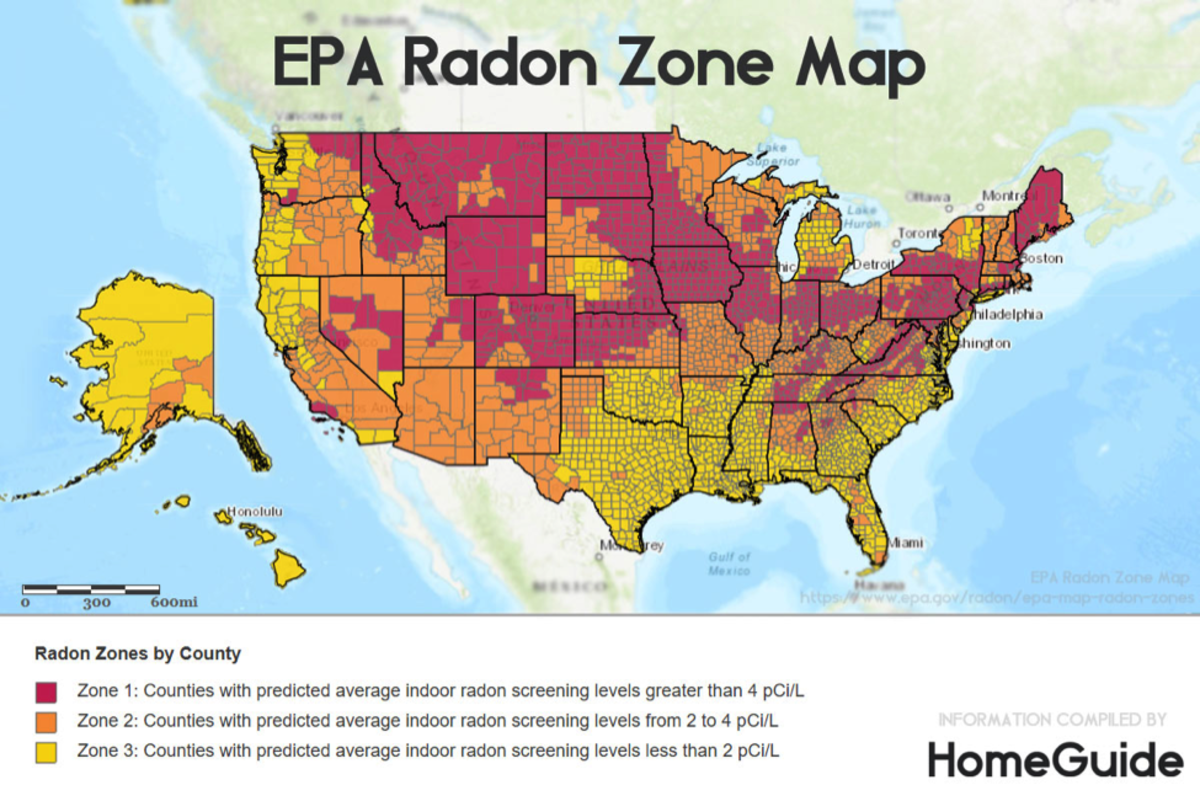 Fig. 1. Environmental Protection Agency (EPA). Radon Zone Map
