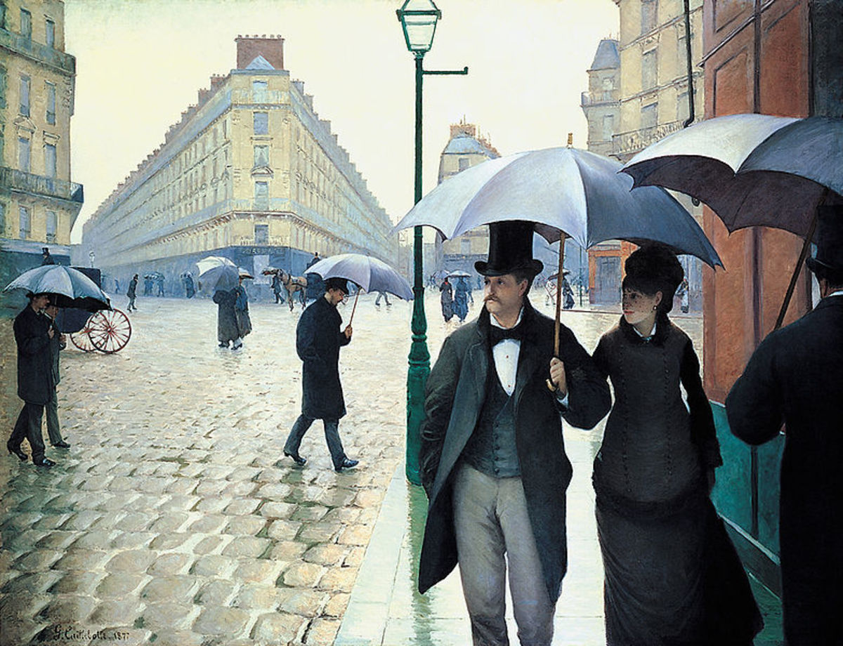 Paris Street; Rainy Day (also known as Paris: A Rainy Day,) an oil painting by Gustave Caillebotte, is one of the many Impressionist pieces that can be found at the Art Institute of Chicago.