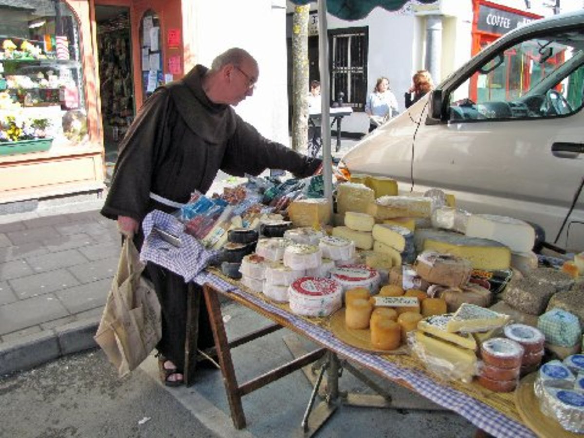 Irish cheeses for sale on market day.