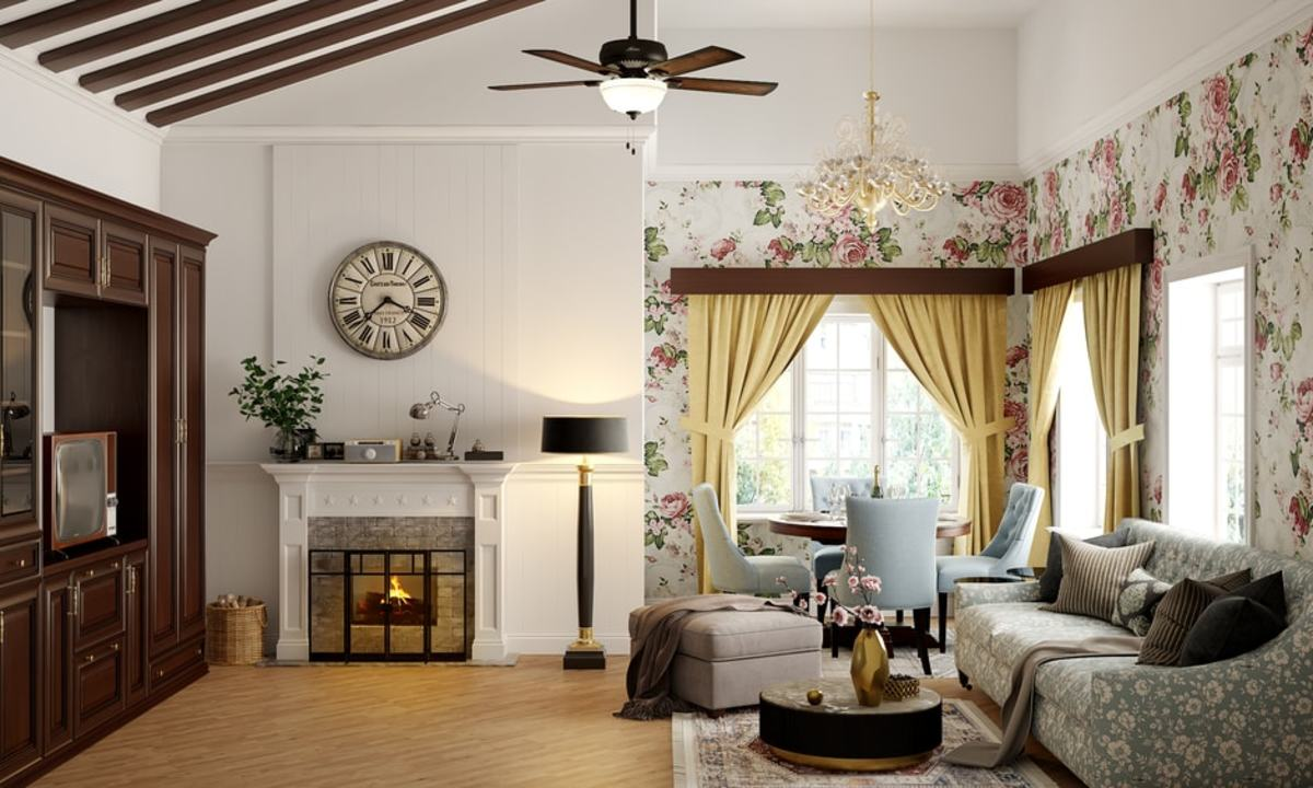 The Rabbit living room should utilize pastel colors, floral wallpaper, wooden furniture, clocks, and tea cups.