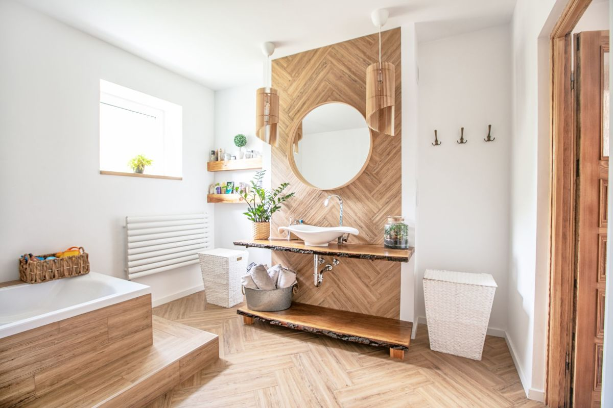 A Rabbit bathroom plays heavily on wood or bamboo. Plants can help make the atmosphere feel more chill. It should feel like a little piece of heaven.