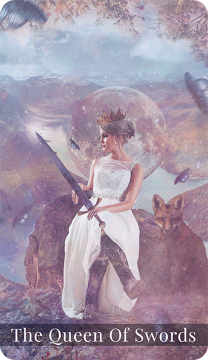 The Queen of Swords is among the angels. She looks to wisdom and the divine before she makes a decision. She has the power of wisdom on her side.
