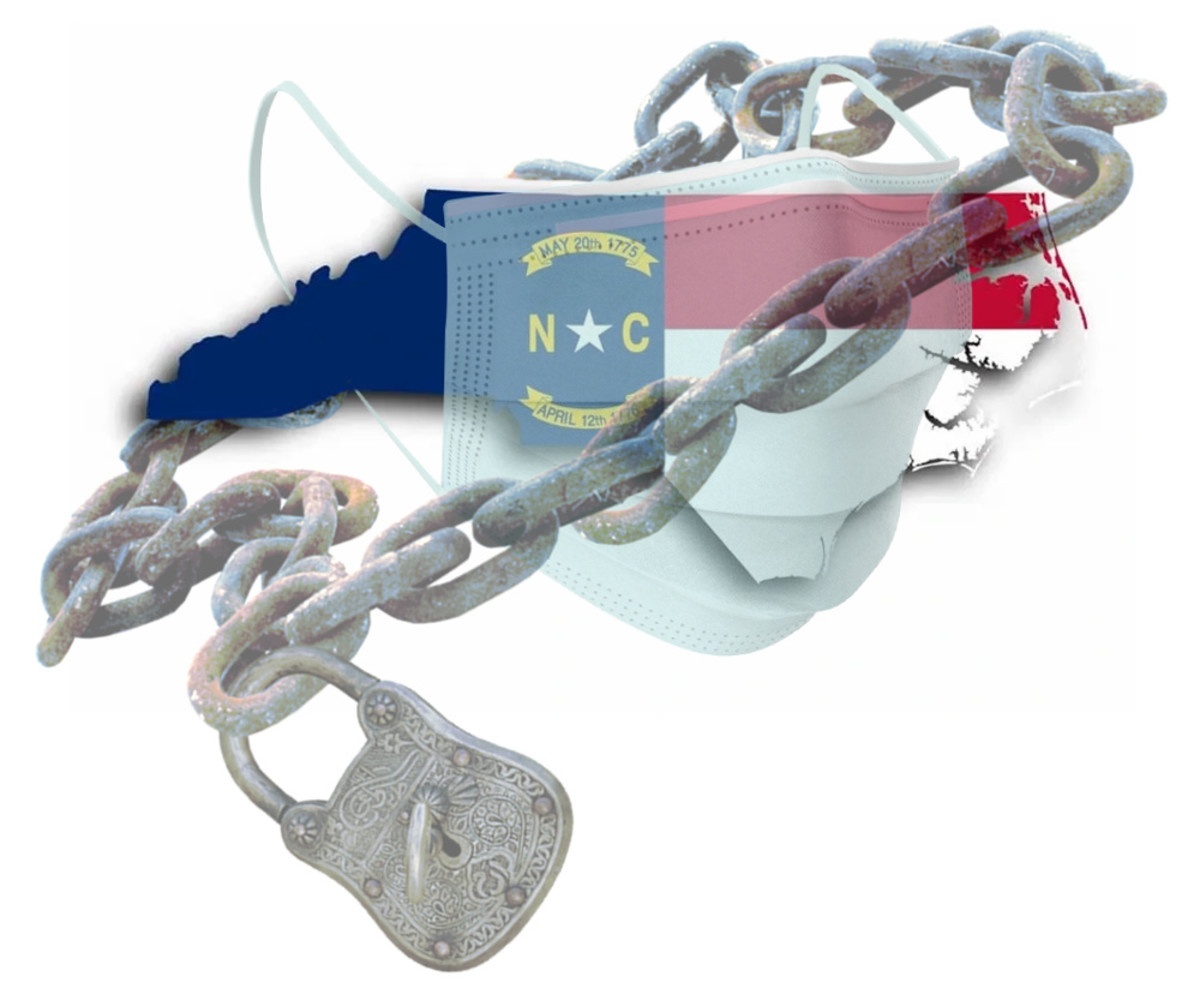 North Carolina flag wrapped around state map, restrained by face mask, lock and chain -- image compiled by R. G. Kernodle