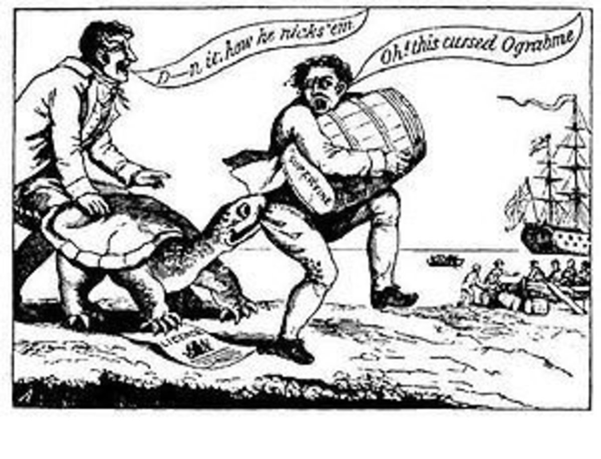 Political Cartoon on the Embargo Act