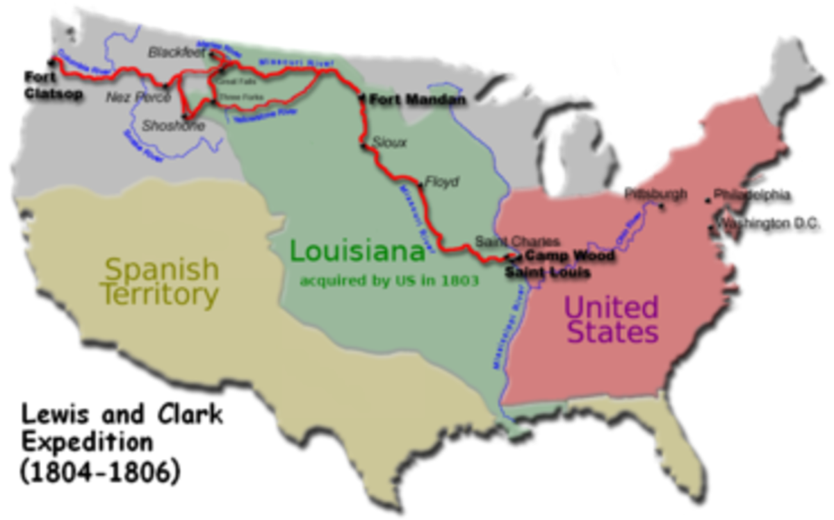 Map showing the territory of the Louisiana Purchase in comparison with the original United States land