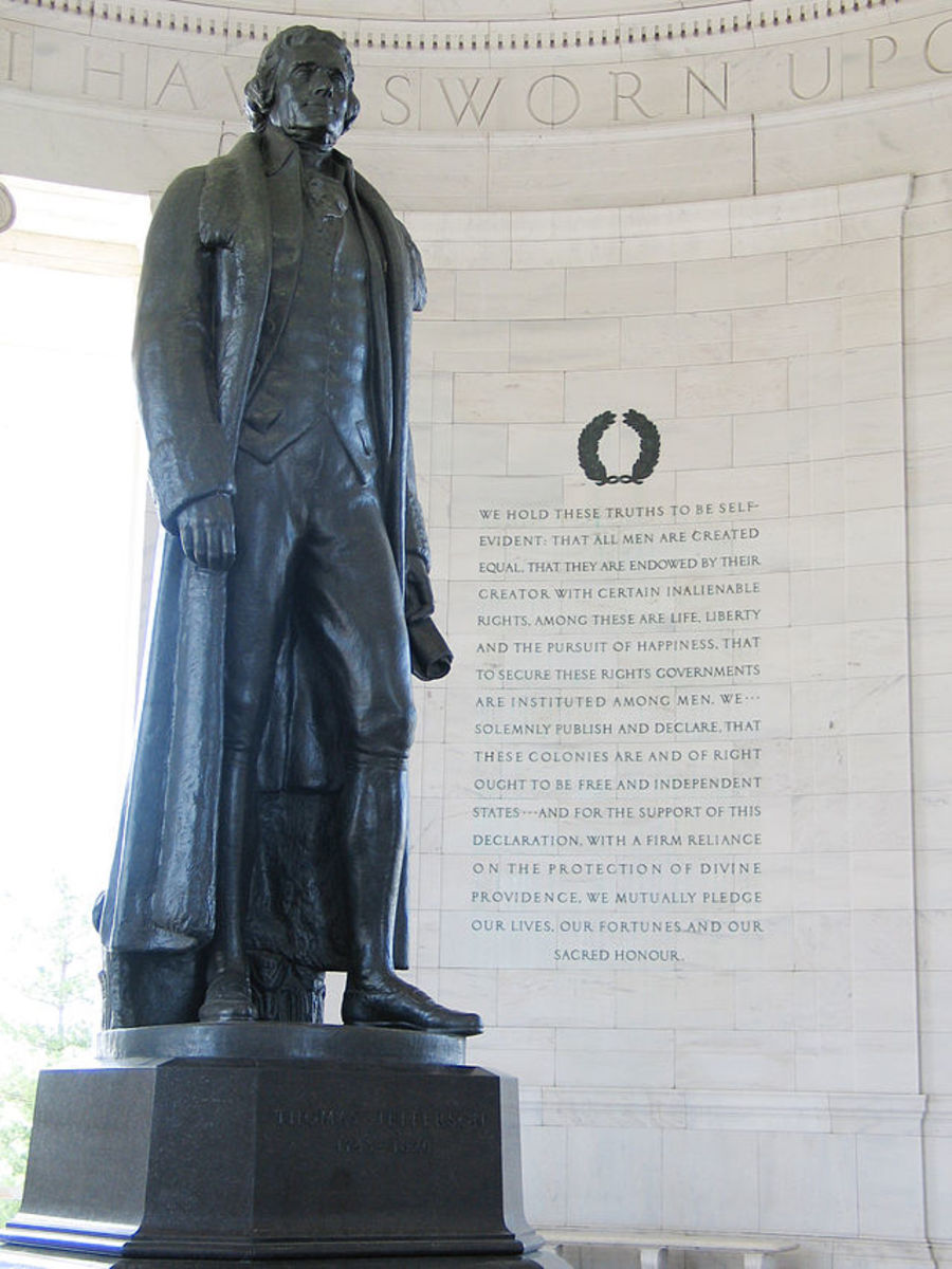 The Jefferson Memorial statue by Rudulph Evans in Washington, D.C. was dedicated in 1943 to mark the 200th anniversary of Thomas Jefferson's birth.
