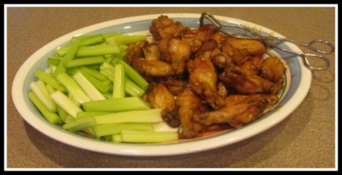 Serve Chicken Wings with Celery or Carrot Sticks and Dip in Ranch Dressing