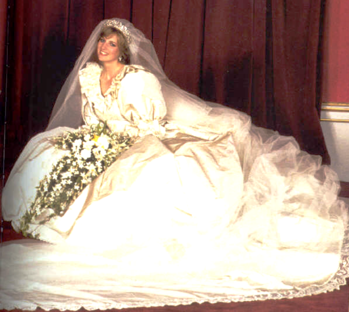 Photo featuring the front of Princess Diana's wedding gown, July, 1981.  Ideas for a Nostalgia Pinboard: Diana Spencer: The First of The Fairy Tale Weddings OR  Royal Brides of Britain