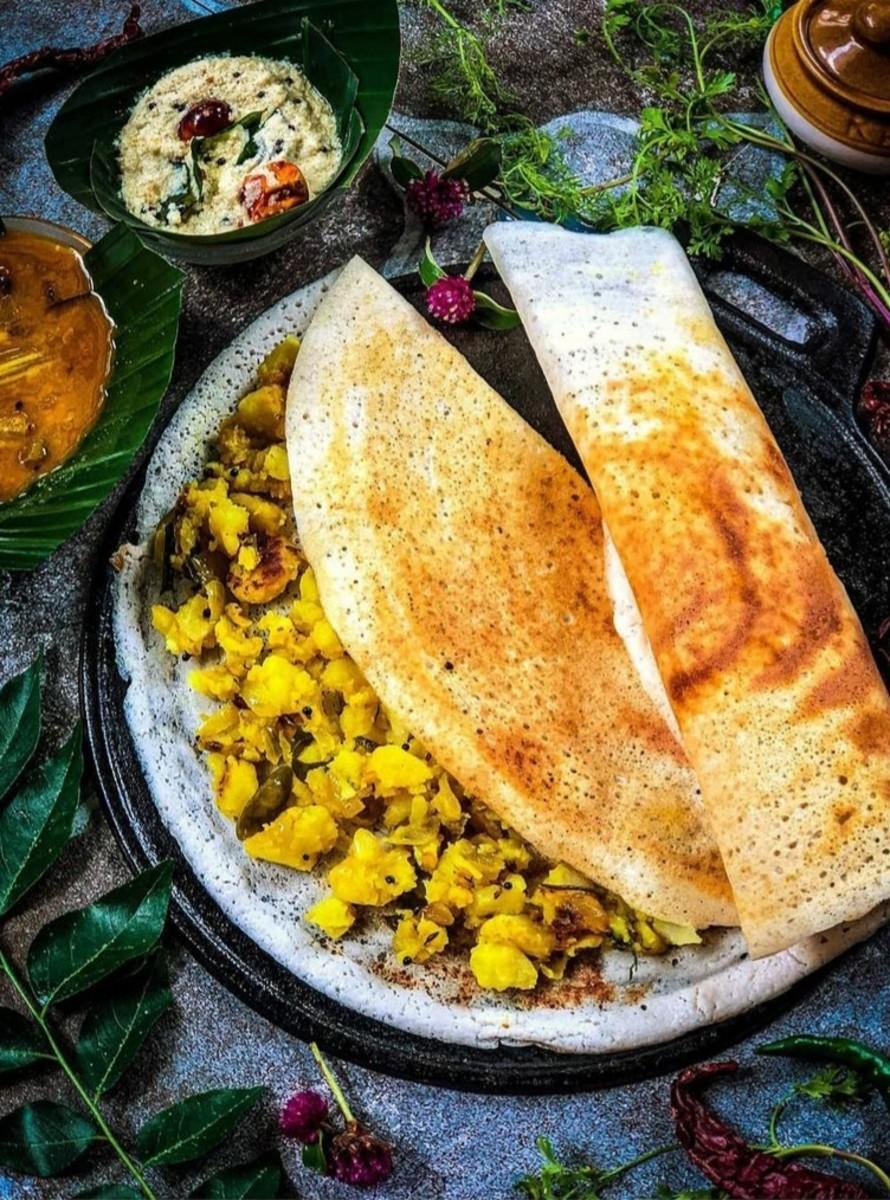 Crisp & Tasty Masala Dosa with coconut chutney and sambar (south indian Cuisine)