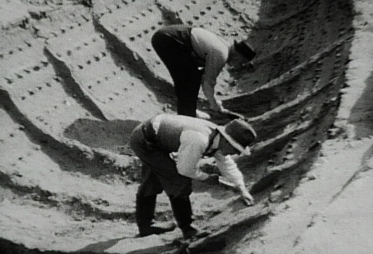 Basil Brown (nearest the camera) working on the Sutton Hoo dig.