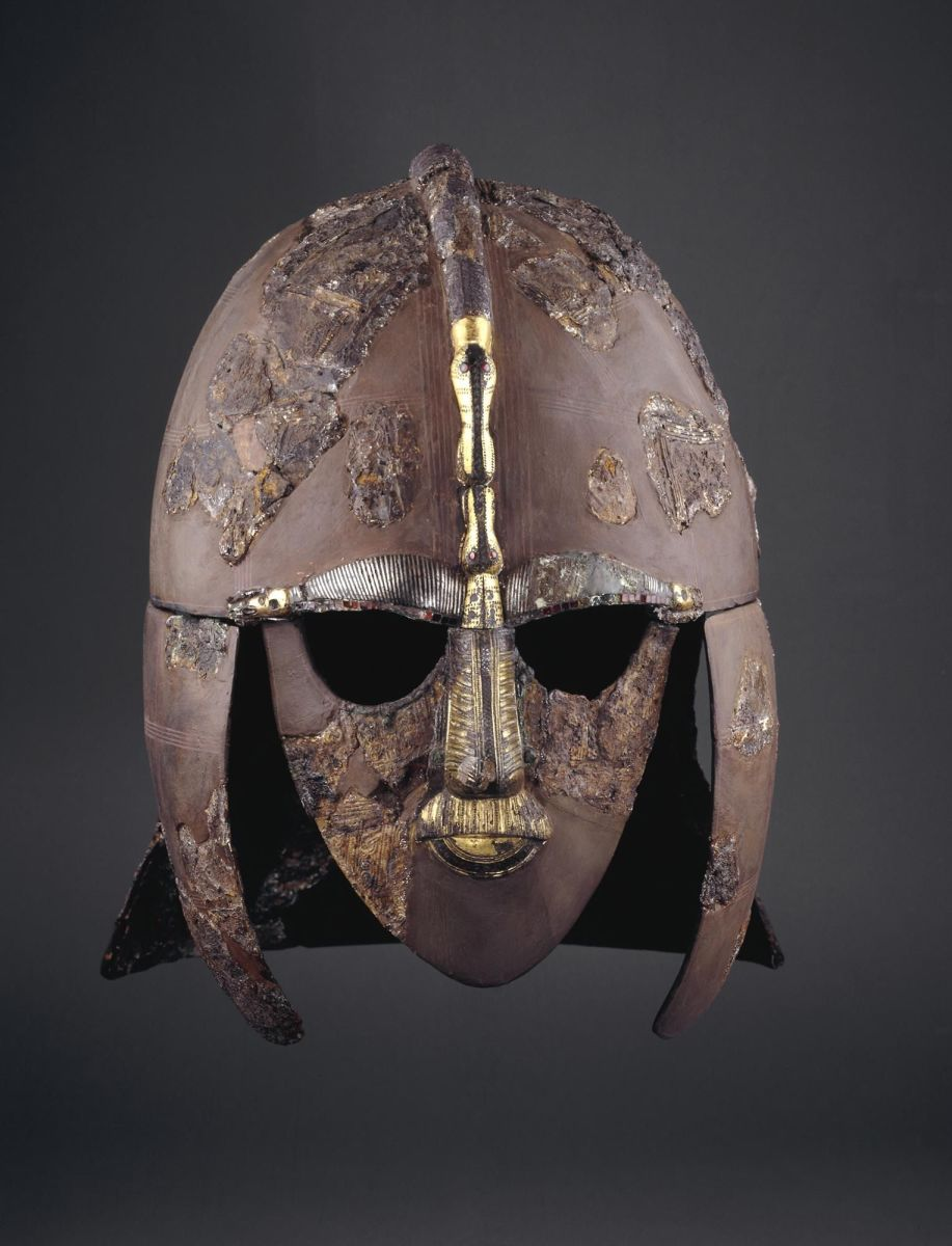 The iconic Sutton Hoo helmet was badly corroded when found and has been reconstructed.