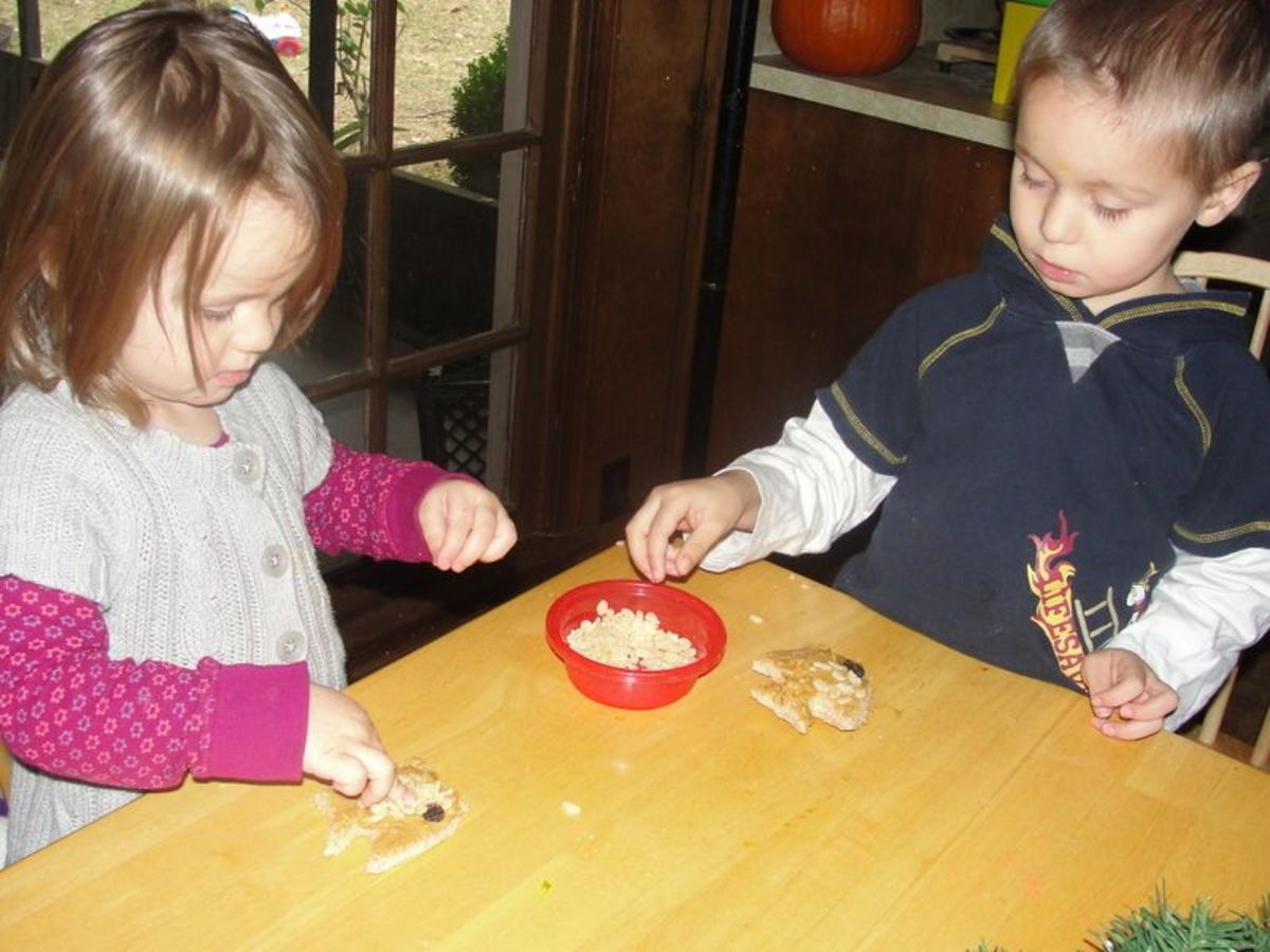 Decorating edible fish during preschool alphabet time