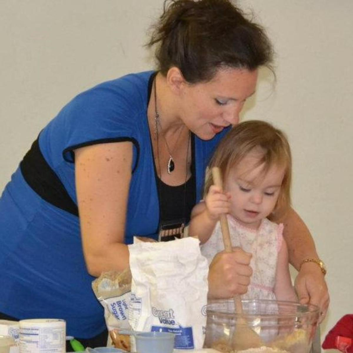 Toddlers love to help cook and bake.