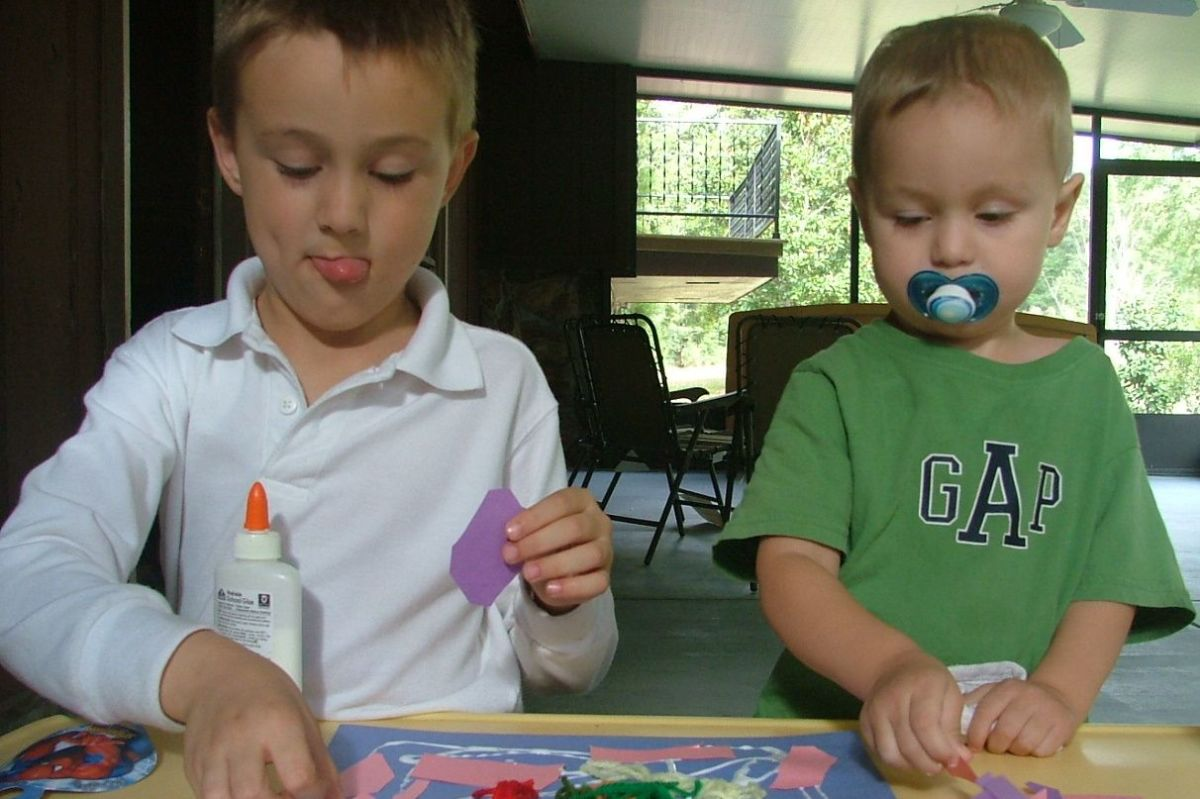 Older children can help entertain or teach younger siblings.