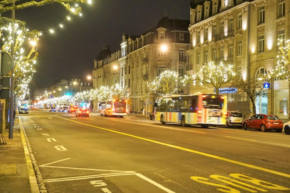 Luxembourg, Christmas lights, Avenue de la Liberté.
