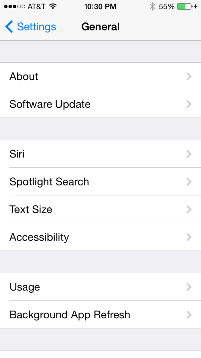"""Tap """"Settings,"""" """"General"""" and then """"Accessibility."""""""