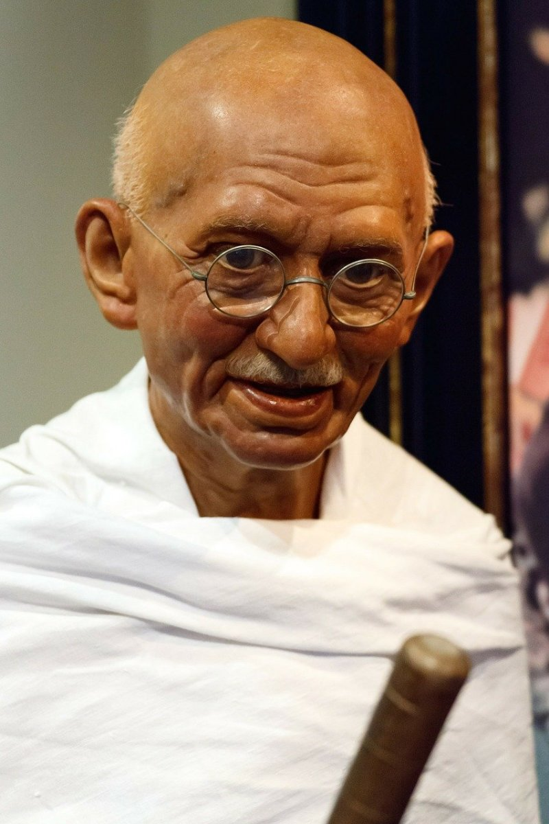 Mahatma Gandhi (1869–1948), leader of a nonviolent movement in India