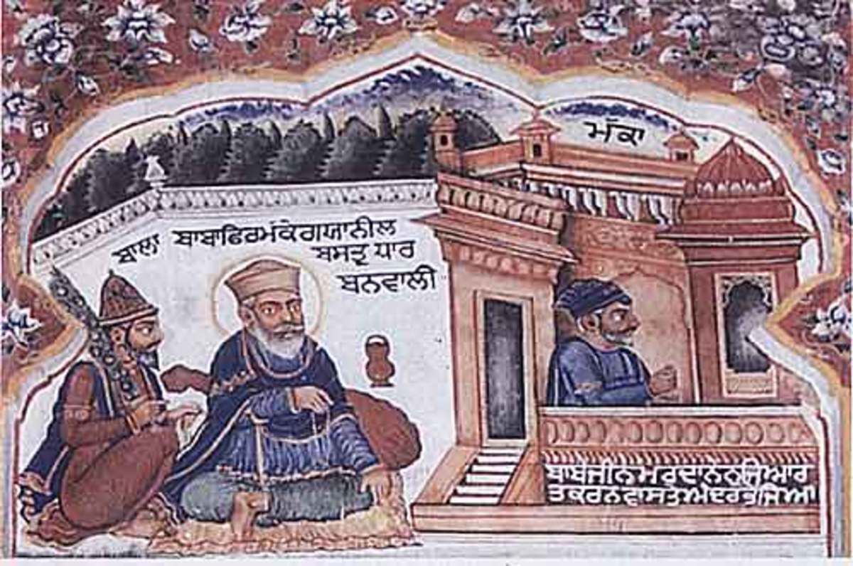 Sri Guru Nanak Dev Ji (centre) dressed in blue robes at Mecca with Bhai Mardana (right) Ji and Bhai Bala Ji (left)