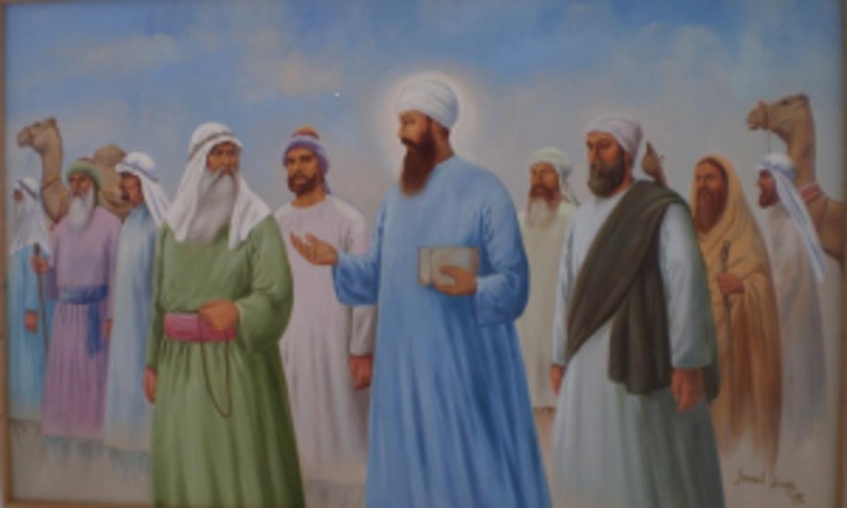Guru Nanak & Bhai Mardana in discourse with Muslim priests at Mecca.